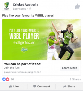 Cricket Australia - Play Like Your Favourite WBBL Player