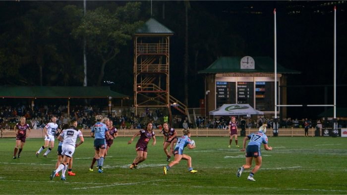 New South Wales player Isabelle Kelly moves the ball against Queensland in the first Women's State of Origin match - 22 June 2018, North Sydney Oval.