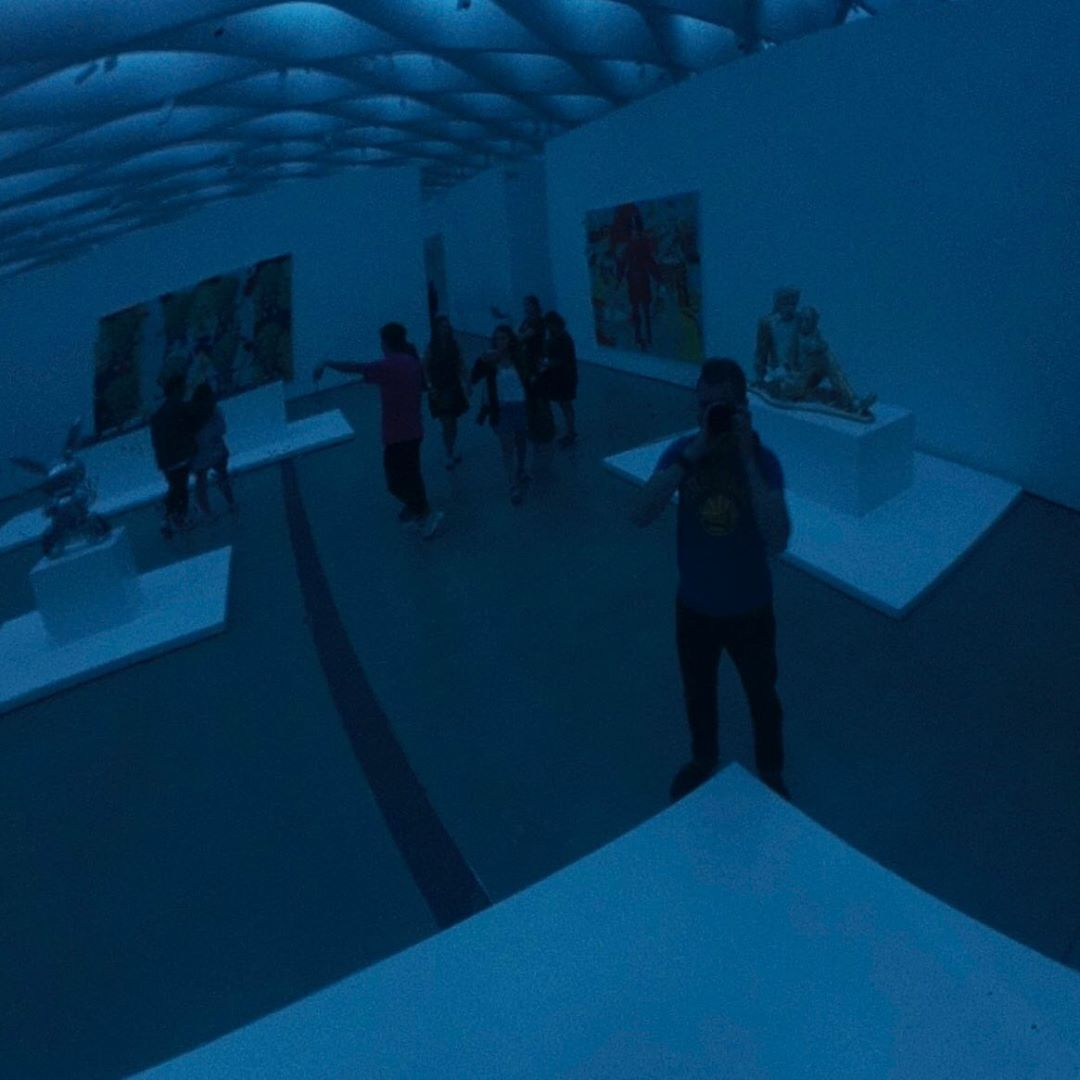 Close reflection of Theo at The Broad in Los Angeles California